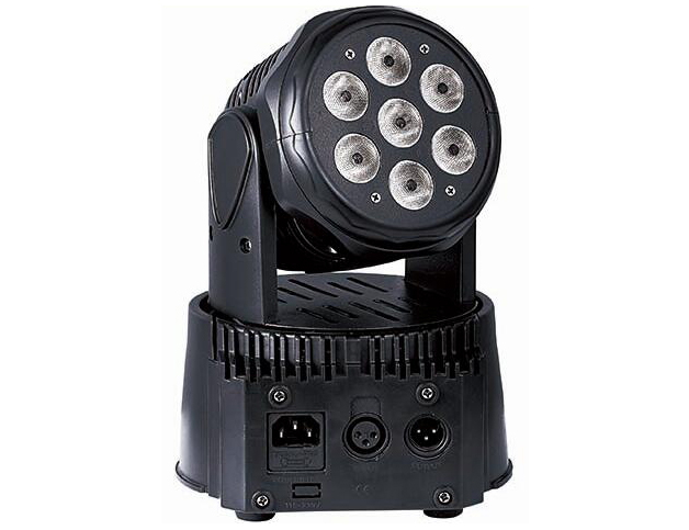 帕灯 FH-70 7颗摇头,  灯珠功率:7*8W  4-in-1 Led (RGBW)(7*10W红绿蓝白四合一灯珠) 使用寿命:50000 小时 电压:100-240V AC.50/60HZ 额定功率:100W (50W) 控制模式:声控/自走/控台/主从联机 DMX通道:8/13(9/14) 尺寸:225*225*395mmm(175*175*235mm) 净重/毛重.:2.7/3.41kg(2.7/3.5KG) 装箱数:4台/箱 效果描述:选用进口全彩四合一科瑞灯珠、色彩纯正,540度高速旋转,