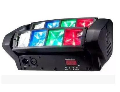 帕灯 FH-081 迷你蜘蛛灯, 光源: 8*3W 科瑞灯珠(红2绿2蓝2白2) 光源寿命: 50,000小时 电源:90-240VAC 50/60HZ 额定功率:40W 控制模式: 声控/自走/主从联机/ DMX 通道: 7/ 13(10/14) 毛重:2.1KG 尺寸:285*155*105mm 效果:外观独特,配置双头移动,拥有多光束动态扫描效果,绽放梦幻般的夜场灯效, 是酒吧、酒馆、俱乐部、迪斯科、移动 DJ 和私人聚会等场所的理想选择。