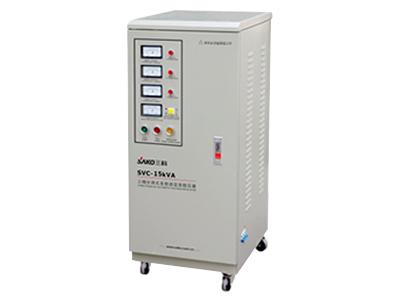 上海三科SVC3000VA-60KVA三相交流稳压器    SVC系列高精度全自动交流稳压器是由伺服电机、控制电路、自耦调压器(或加补偿变压器)所组成,具有体积小、重量轻、效率高、稳压范围宽、无波形失真等优点。设有过压(欠压)保护、延时(选择)保护和故障保护等功能,电压双向指示,功能完善、安全可靠。广泛适用于家庭用电和工农生产、科学研究和医疗卫生领域。