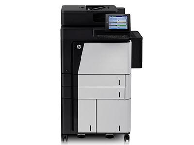 """HP M830z    """"产品类型: 黑白激光多功能一体机 涵盖功能: 打印/复印/扫描/传真 最大处理幅面: A3 耗材类型: 鼓粉一体 黑白打印速度: 55ppm 打印分辨率: 1200×1200dpi 网络功能: 支持有线网络打印 双面功能: 自动"""""""