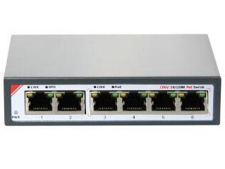 光网视 ONV-POE31064PL 4个10M下联RJ45端口,2个10/100M上联RJ45端口; 3-6端口支持IEEE802.3af/at标准供电,单端口供电功率15.4W/30W,且带VLAN隔离功能,高可靠性八芯线供电,250米传输和供电,整机总功率65W。