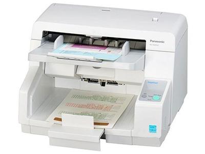 松下KV-S5055C    双面进纸扫描,可扫描为黑白和彩色两种,单面扫描90ppm,双面扫描180ipm,分辨率600dpi,接口USB2.0,ADF容量200页(21lbs、80g/m=),双进纸检测,自动预览、自动扫描、通知功能、图像自动定位,自动裁切/纠偏,自动调整亮度,动态阀值,纸白电平、自动分离、多色分离、自动区分黑白和彩色、等色操作、双通道、双曝光、光滑背景、去孔功能、名片-信纸A4