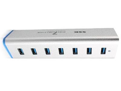 飚王 铁三角一拖7口集线器HUB USB3.0分线器SHU370  USB3.0高速接口,安全稳定;可与U盘、移动硬盘、视频摄像头、打印机、鼠标、键盘、Galaxy Tab、三星、小米、iphone手机等设备的USB接口线连接。即插即用,支持热插拨。