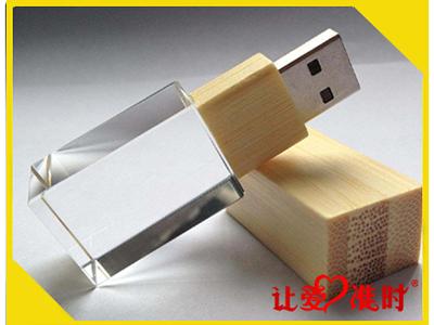 长方形发光水晶竹木U盘