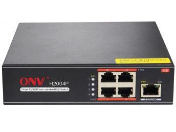 光网视 H1004P 5口10/100M交换机,其中1-4口支持POE,IEEE 802.3af/at国际标准,每端口标准输出功率15.4W,单端口最大供电功率30W,整机总功率65W。默认网络4芯供电1,2(+)/3,6(-) ,可选4,5(+)/7,8(-)  内置电源