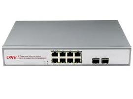 "光网视 ONV-POE33108PF-at 8*10/100/1000M电口+2*GF千兆SFP 非网管POE交换机,其中1-8口支持IEEE 802.3af/at 国际标准 POE端口支持AF/AT智能识别,每端口标准输出功率15.4W,单端口最大功率30W 网络4芯供电 ,仅支持1,2(+)/3,6(-) 兼容标准1U机架,内置电源 不含光纤模块,可另配SFP模块"""