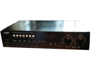匹克 PEK-AV-6200 180W*2两路话筒输入,话筒音量和音乐音量独立调节,  集成均衡混响 频率响应:20Hz—20KHz(+5db) 总谐波失真:0.06\%1W 高音控制范围:10KHZ+10db 低音控制范围:100KHZ+10db 输入灵敏度:200MV 47Kohm 左右声道分离度:75db