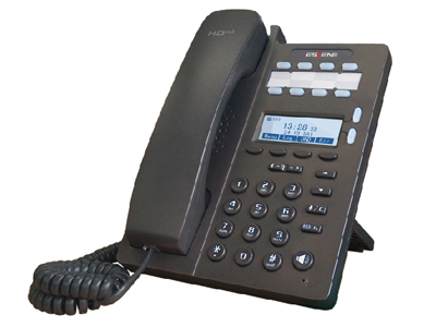 ES206两线入门级 IP 智能电话       128*64 黑白点阵LCD,2 SIP账号, 4+8个可编程键,可调支架,高清语音,自动配置, XML,双网口,一个耳机接口,带电源适配器。.支持免费手机客户端软件EP+.