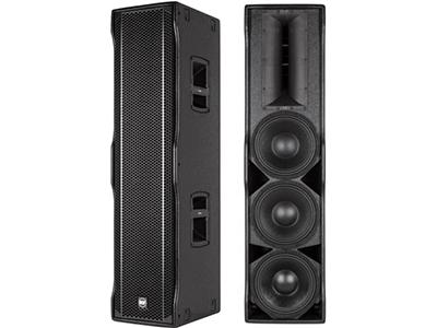 "RCF-NX L44-A/二分频有源单元阵列音箱  音箱类型 二分频有源线阵列扬声器 单元组成:3只10英寸钕磁低音单元(2.5""音圈),                     1.4英寸压缩驱动高音单元(3""音圈),  高音采用RCF精密波导专利,DSP控制双EQ预设,桦木板材箱体; 分频点:800Hz 最大声压级(Max SPL):134dB; 频率响应(±3 dB):45 Hz~20000 Hz; 水平/垂直覆盖角度:90°/30°; 高频/低频额定输出功率(RMS):200 W/500W; 高频/低频峰值输出功率(PEAK):400 W/1000W; 音箱尺寸(W×H×D) 303×1198×402mm 净重 34.5Kg(1只)   ※产品参数已进入EASE数据库"