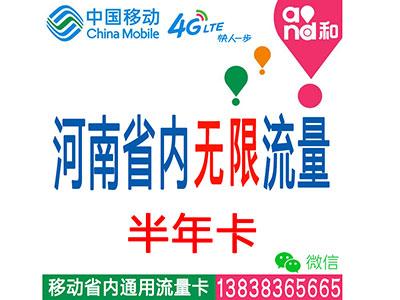 移动4G河南省内套餐:无限时间无限流量-半年卡平板-电脑-ipad-手机上网流量卡