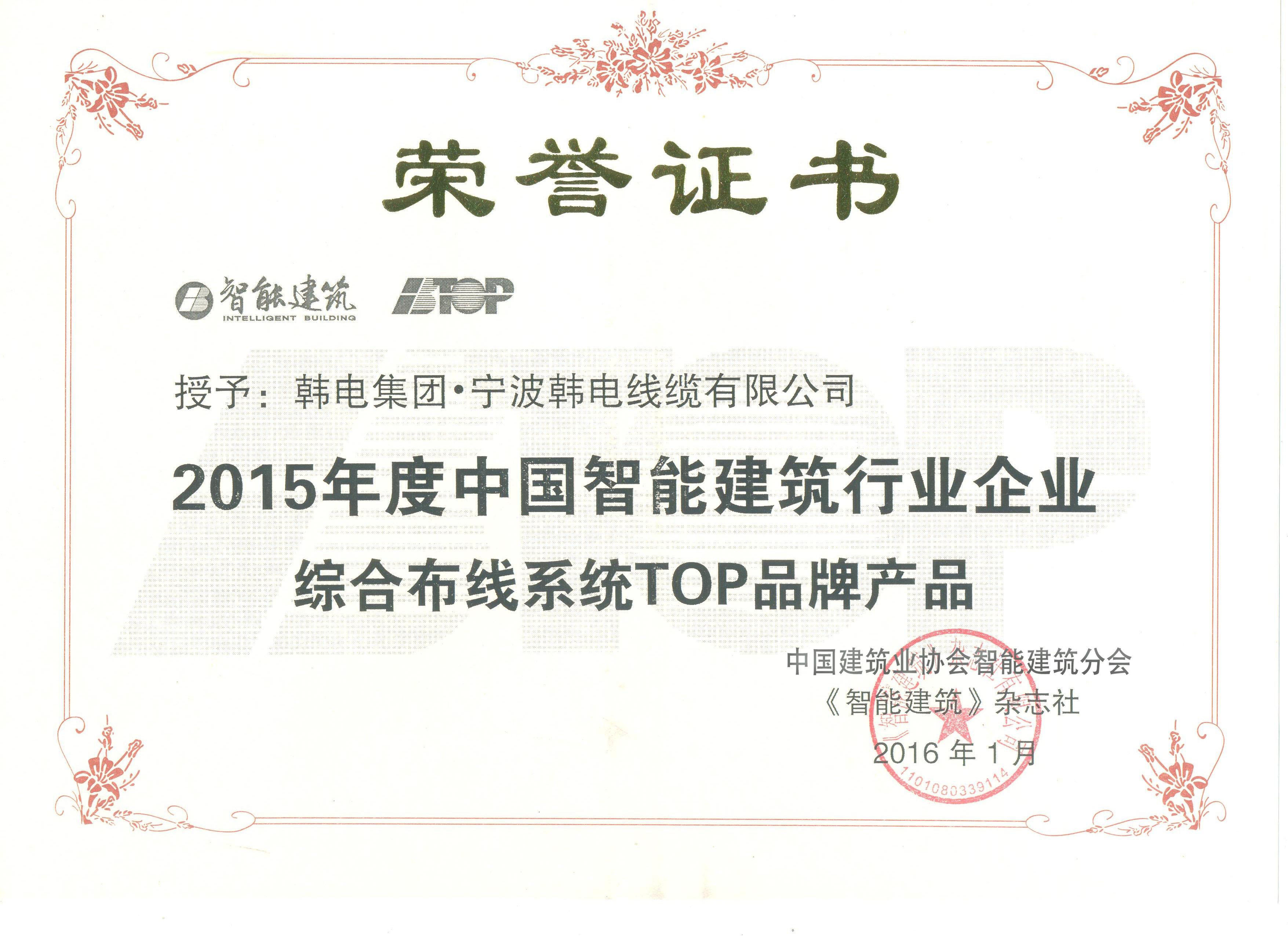 2015年度中國智能建筑行業企業綜合布線系統TOP品牌產品