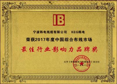 2017年度中國綜合布線市場最佳行業影響力品牌獎
