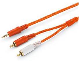 金山角 JSJ620 3.5对双RCA音频连接线 透明红PVC外皮 镀金头 全铜线芯  金山角 袋包装 1.8米