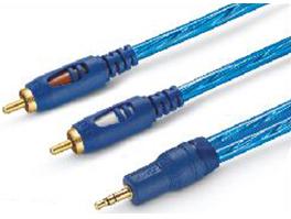 金山角 JSJ-618 3.5对双RCA音频连接线 透明蓝色PVC外皮 镀金头 高级3层双色工艺插头 金山角 袋包装 1米 1.5米 3米 5米