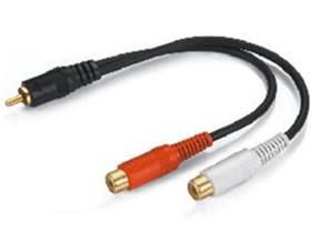 金山角 JSJ-325 RCA公转双RCA母音频连接线 一分二线 黑色PVC外皮 镀金头 全铜线芯 金山角 袋包装  0.2米 1.8米