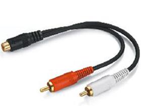金山角 JSJ-326 RCA母转双RCA公音频连接线 一分二线 黑色PVC外皮 镀金头 全铜线芯 金山角 袋包装 0.2米 1.8米