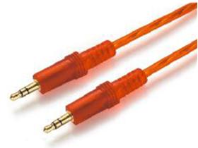 金山角 JSJ-612 AUX音频线 透明红色线身 纯铜线芯 镀金头 超厚铝箔屏蔽 金山角 袋包装 1.8米