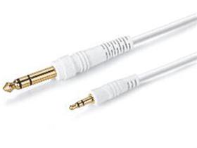 金山角 JSJ-512 3.5立体声对6.35双声道音频线 白色PVC外皮 全铜线芯 镀金头 金山角 袋包装 1米 1.8米 3米 5米 10米 15米