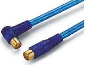 金山角 JB-TC02 TV公直对TV公弯电视射频线  透明蓝色PVC外皮  双磁环 金山角 袋包装 1.8米 3米 5米