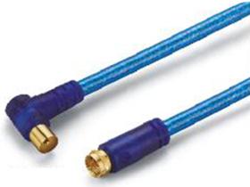 金山角 JB-TC12 TV公弯对TVF公直电视射频线 透明蓝色PVC外皮 双磁环 金山角 袋包装 1米 1.5米 3米 5米