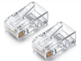 金山角  JSJ-8P8C 超五类 水晶头 三叉防爆水晶头长度:20 透明白色 金山角 彩盒包装