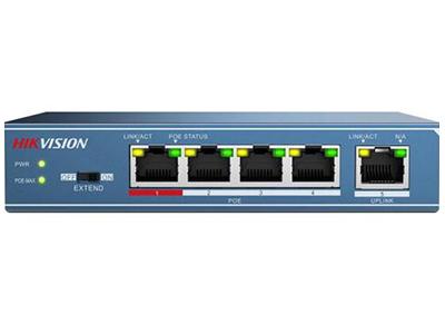 海康威視DS-3E0105P-S非網管POE交換機    DS-3E0105P-S非網管POE交換機支持4口百兆PoE電口,可通過網線直接供電,PoE自適應802.3af(15.4W)和802.3at(30W)標準,整機PoE最大輸出功率為58W,通過普通的5類雙絞線即可為AP、IP攝像頭、IP電話等PoE受電設備同時傳輸電力和數據。      設備支持網絡延長(EXTEND)模式,開啟后,使用超五類及以上網線時,對應端口的數據傳輸和供電距離最遠可達250米;PoE支持8芯供電技術,有效降低電源線路損耗;支持重要端口數據保障功能,對于重點區域的數據或視
