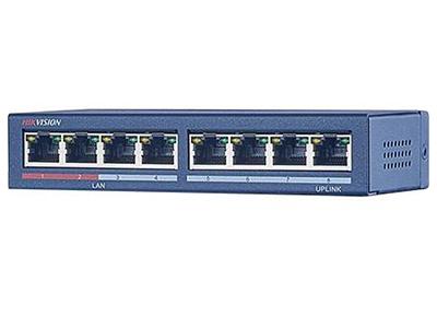 海康威視DS-3E0108-S非網管二層交換機    DS-3E0108-S是我公司自主研制的二層網絡交換機,提供8個百兆電口。該交換機可靠性高、便于安裝維護,快速交換功能、多個接入端口,適用于小規模局域網設備互聯。 功能特性  支持IEEE802.3、IEEE802.3u、IEEE802.3x 支持存儲轉發交換方式 支持視頻紅口保障技術 超過10萬小時的平均無故障時間 堅固式高強度金屬外殼 無風扇設計,可靠性高