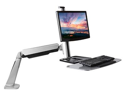 BK DWS02-C01显示器站立办公 (13-27英寸)液晶电脑显示器支架 双屏桌面伸缩旋转升降显示屏支架臂 多屏底座气压架