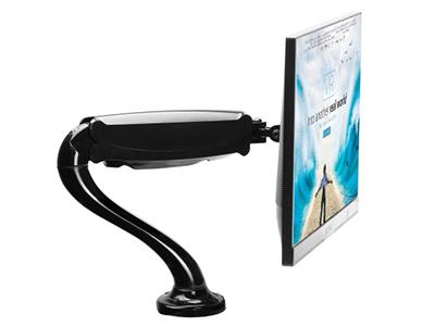 BK LDT09-C012气压单屏 液晶电脑显示器支架 桌面万向旋转升降显示屏支架臂 单屏底座气压架全铝合金,气弹簧自由悬停,承重1-6kg,适用13-27英寸显示器,视距伸缩,高低升降