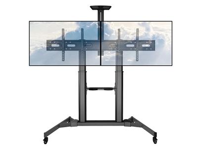 BK TTD03-44TW双屏移动推车 双屏电视移动,视频会议推车,适用尺寸32-43寸,升降高度1270-1590MM,钢制,承重50KG,支持安装孔位600*1000mm