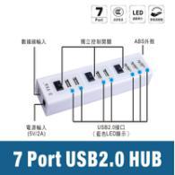 力特七口有源HUB(带独立开关)ZE644