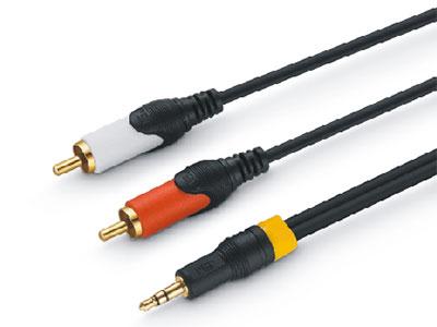 金山角  JSJ-322  3.5对双RCA音频连接线 OD:3.8*2F 黑色PVC外皮 镀金头 全铜线芯 金山角 袋包装 1.5米 1.8米 3米 5米 10米 15米 20米 30米