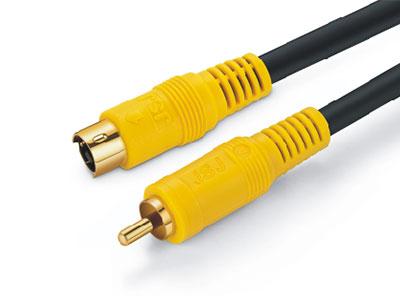 金山角  JSJ-812 高传输S端子对RCA线 OD:6.0*3F 黑色PVC外皮 金山角 袋包装 1.8米 3米 5米