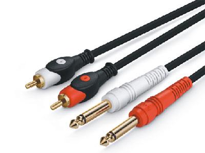 金山角  JSJ-443 双RCA对双6.35单声 OD:5.0*2F 黑色PVC外皮 纯铜镀金头 高级3层双色工艺插头 金山角 袋包装 1米 1.5米 2米 3米 5米