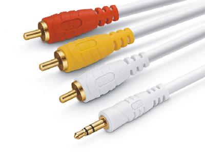 金山角  JSJ-3701 3.5立体声对3个RCA音视频线 OD:3.8*2F 蓝色PVC外皮 全铜线芯 镀金头 金山角 袋包装 1.8米 3米 5米