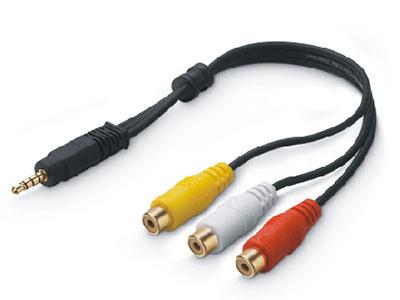 金山角  JSJ-390 3.5转3莲花母液晶电视转换线 OD:3.0*3F 黑色PVC外皮 金山角 袋包装 0.3米 0.5米