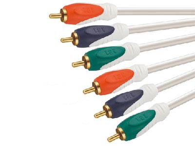 金山角  JB-SC32 高清R.G.B色差视频线 OD:6.0*3F 珠光白色PVC外皮 镀金端子 高级三层双色工艺插头 金山角 袋包装 1.8米 3米