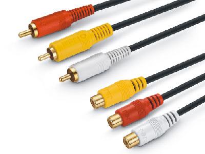 金山角  JSJ-623 3莲花对3莲花母音频线 OD:4.0+5.0+4.0 黑色PVC外皮 全铜线芯 镀金头 金山角 袋包装 1.8米