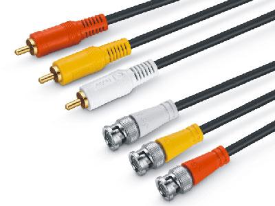 金山角  JSJ-668A 3莲花对3BNC音视频线 OD:5.0*3F 黑色PVC外皮 全铜线芯 金山角 袋包装 1.5米