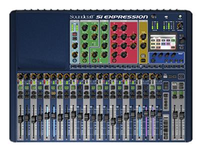 """聲藝  SI EXPRESSION 2  調音臺 """"數字調音臺,24路輸入/16路輸出 輸入通道設有8段立體聲音量表,幻象電源,極性相反 增益調整和高通濾波器頻率設置控制,USB接口和QHiQnet接口 彩色觸摸屏,64x64選項卡插槽,各通道4段均衡,增益,動態,聲像和延遲等設置"""