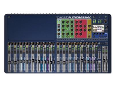 """聲藝  SI EXPRESSION 3  調音臺 """"數字調音臺,32路輸入/16路輸出 輸入通道設有8段立體聲音量表,幻象電源,極性相反 增益調整和高通濾波器頻率設置控制;USB接口和QHiQnet接口 彩色觸摸屏,64x64選項卡插槽,各通道4段均衡,增益,動態,聲像和延遲等設置"""