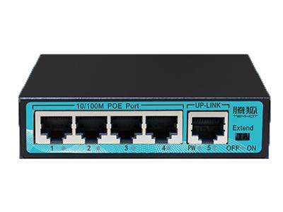 腾狐 PK4001 百兆POE交换机 ,配备有4个10/100M自适应的RJ45下行端口,1个10/100M UP-LINK口,国际POE标准
