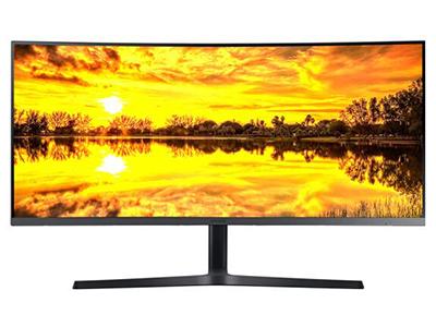 """三星C34H890WJC    """"产品类型:4K显示器,LED显示器,广视角曲面显示器 产品定位:电子竞技 屏幕尺寸:34英寸 面板类型:VA 最佳分辨率:3440x1440 可视角度:178/178° 视频接口:HDMI,Displayport 底座功能:侧转,升降"""""""