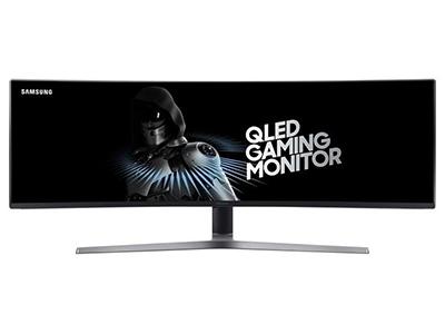 """三星C49HG90    """"产品类型:LED显示器,广视角显示器,曲面显示器 产品定位:电子竞技 屏幕尺寸:49英寸 面板类型:VA 最佳分辨率:3840x1080 可视角度:178/178°"""""""
