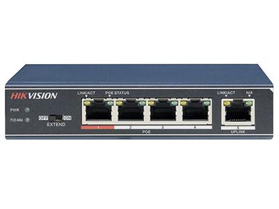 海康威視DS-3E0105P-E/M    4個百兆POE電口+1百兆電口,POE功率35W,桌面式,二層非網管