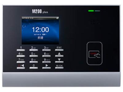 射频卡考勤机M200plus 外观精巧,3寸6万5千色高清彩屏,数字键盘方便号码输入和功能设置可储存十万条刷卡记录,可单机也可联网适应多人多点考勤;该款机器在Linux平天下开发,具有定时定人发送对公对私的短消息功能配套考勤软件可实现复杂的考勤、人事、倒班等管理,为企业管理创造效益