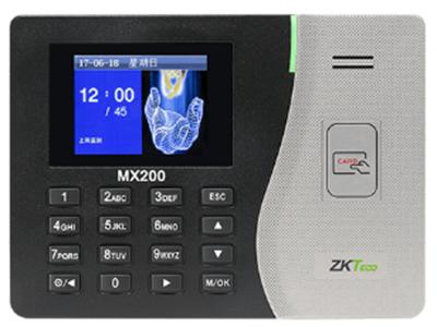 射频卡考勤机MX200 该产品采用2.8寸高清彩屏,外贴亚克力镜片的视窗技术,突出显示窗口。模具正面的麻点装饰和S型曲线,使得产品更显示时尚美观,整机采用的精美倾角设计,符合人体工程学。该产品支持T9输入法,标配TCP/IP网络通讯,SSR报表功能(自动生成考勤报表),可直接在考勤机上生成报表,用U盘直接下载考勤数据;MX200亦可通过网络使用考勤软件来完成对员工的考勤管理,使企业的考勤管理更灵活、更轻松