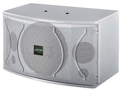 """英國JRK K-220   """"三單元兩分頻KTV音箱 一只10英寸低音單元 兩只3英寸紙盆高音 采用專業高效率卡拉OK專用單元 采用音箱專用保護 人聲表現力出色,中頻渾厚,透徹 額定功率(RMS):150W 峰置功率(RMS):320W 最大聲壓級(RMS):120dB 靈敏度(1m/1w):92dB 頻率響應(-3dB):60Hz-20KHz+-1dB 推薦阻抗:8歐 尺寸(W*H*D):320*330*520mm 凈重:14Kg"""""""