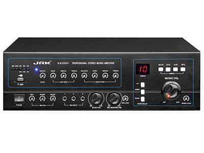 """英國JRK KA-2600卡包合并式功放   """"帶USB 帶藍牙  鋁合金面板設計 大功率輸出 模擬DSP調節模式 隱藏旋鈕調節 安全保護線路設計  額定功率(RMS):250W+250W 信噪比(1m/1w):85dB 頻率響應(-3dB):20Hz-20KHz+_1dB 阻抗:8歐 輸出阻抗:4-16歐 效果類型: 音調控制:+-8dB 輸入靈敏度(dB/1m/1w):20mv+-10\%/2k歐 總諧波失真(1KHz,8歐):〈0.05\% 電源供應:AC220V,50Hz/60Hz 尺寸:430*130*"""