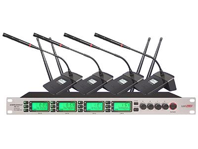 """森海動力 MK-802   """"1. 內置3編組疊機頻率,一鍵調取. 同一頻段可同時輕松疊機三套使用. 2 具有IR紅外線自動對頻功能,一鍵自動對頻鎖定. 3. 四通道音量獨立可調. 提供4+1音頻輸出.四通道各音頻音量輸出獨立可控. 4.提供多種發射器可選. 發射器中會議/手持/領夾 可以混搭使用. 互不干憂. 5. 背光式LED顯示屏指示了RF和AF信號強度,頻率,頻率組/頻道等工作狀態. 6. 采用4通道相同的工作頻率,使得發射器之間可以隨時互換,極大地增強了操作的靈活性. 7. 采用最新的UHF波段無線音頻發"""